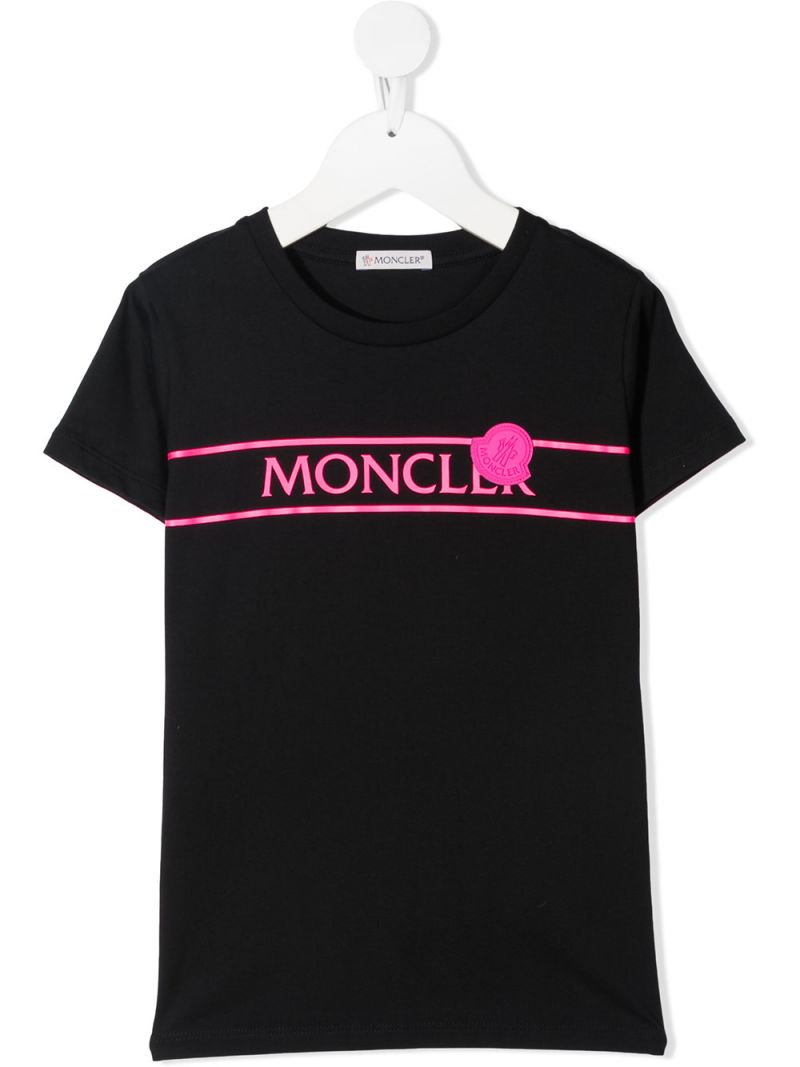 MONCLER KIDS: logo print cotton t-shirt Color Black_1