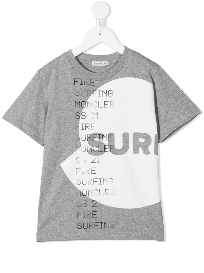 MONCLER KIDS: Surfing print cotton t-shirt Color White_1
