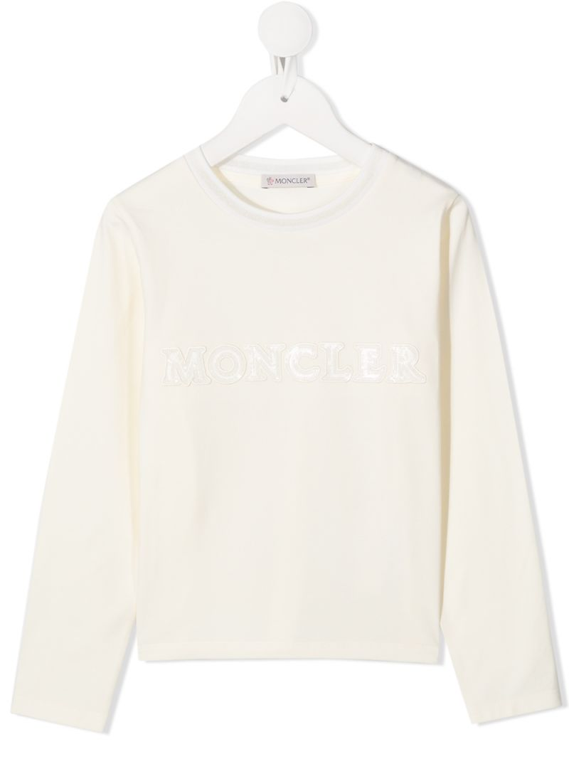MONCLER KIDS: logo embroidered stretch cotton long-sleeved t-shirt Color White_1