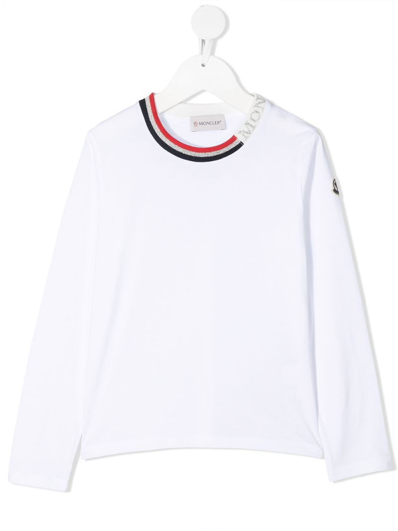 MONCLER KIDS: logo-detailed cotton long-sleeved t-shirt Color White_1
