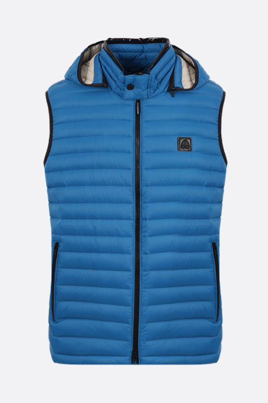 MOOSE KNUCKLES: Riggin 2 nylon sleeveless down jacket Color Blue_1