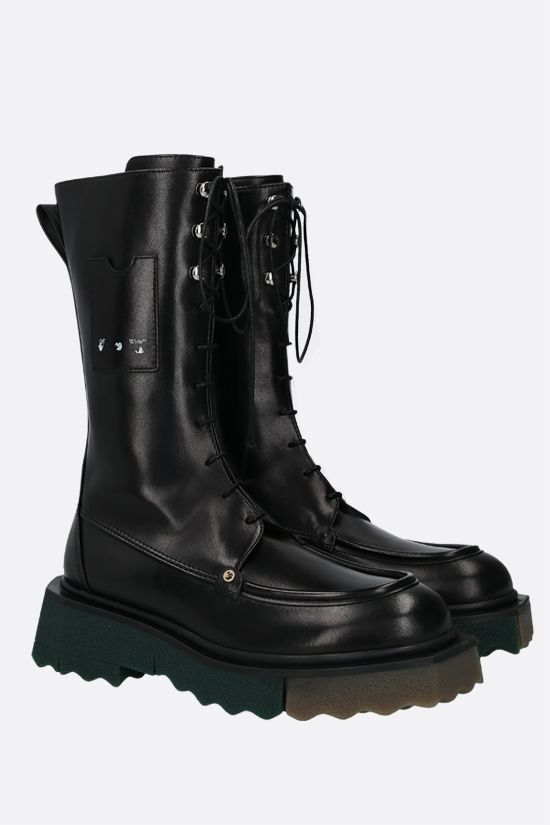 OFF WHITE: Sponge smooth leather combat boots Color Black_2