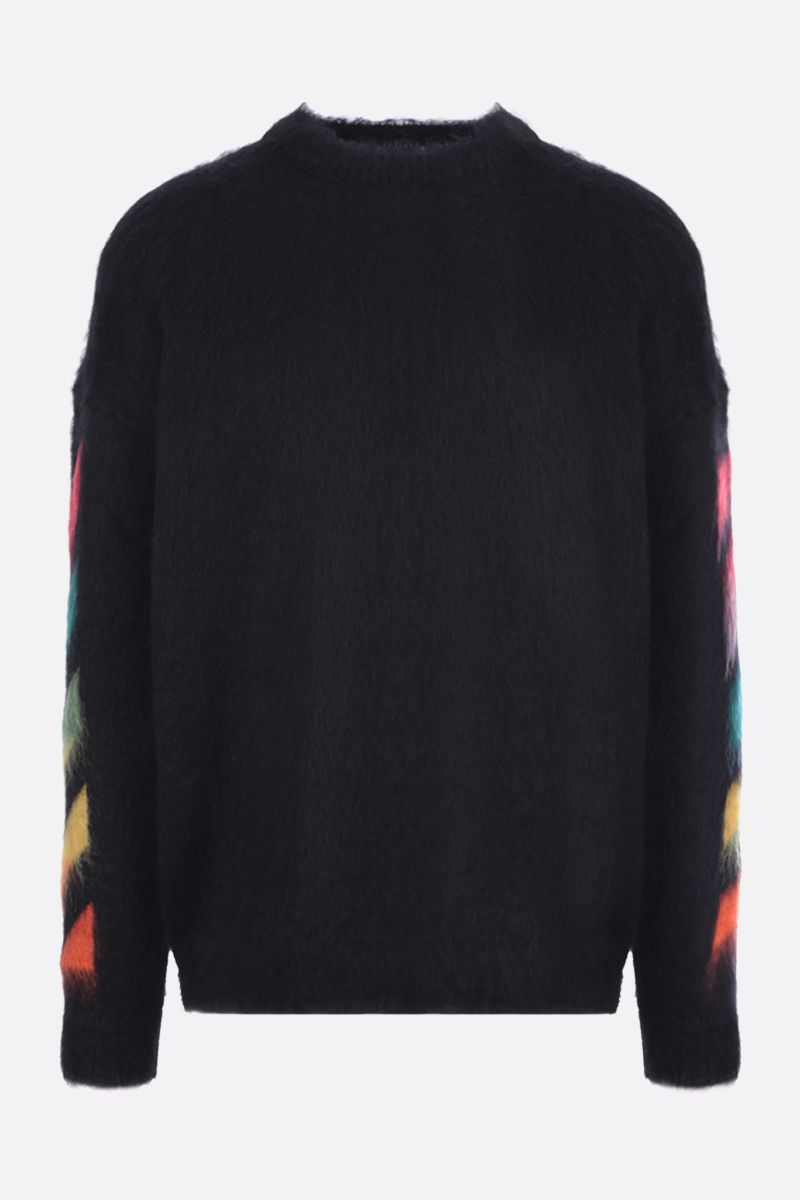 OFF WHITE: Diagonals intarsia mohair blend pullover Color Black_1