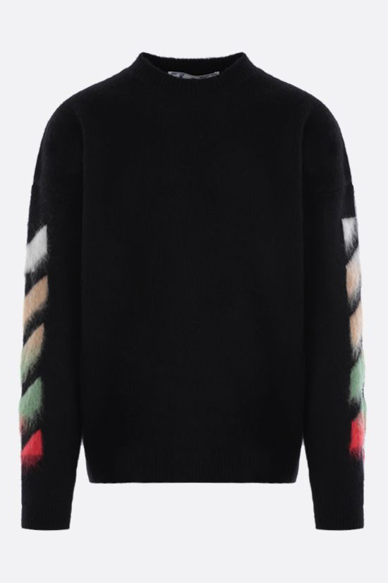 OFF WHITE: oversize wool mohair blend pullover Color Black_1