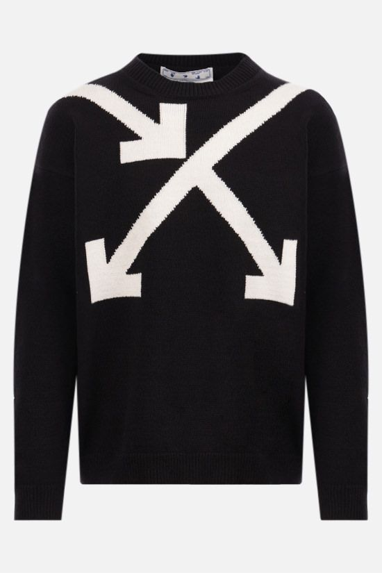 OFF WHITE: Twisted Arrows cotton blend pullover Color Black_1