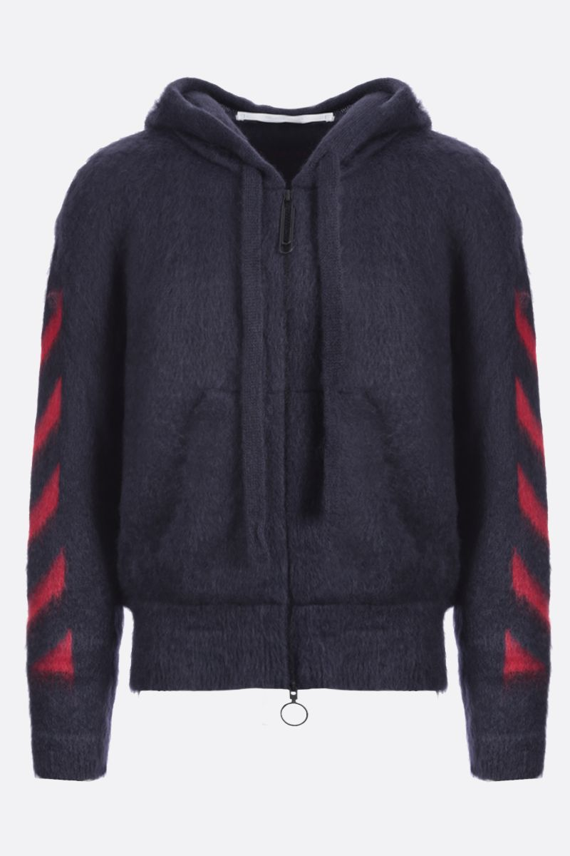OFF WHITE: Diagonals intarsia mohair blend full-zip pullover Color Grey_1