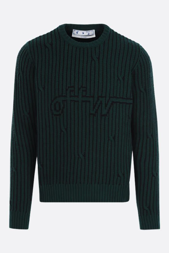 OFF WHITE: logo print wool cotton blend pullover Color Green_1