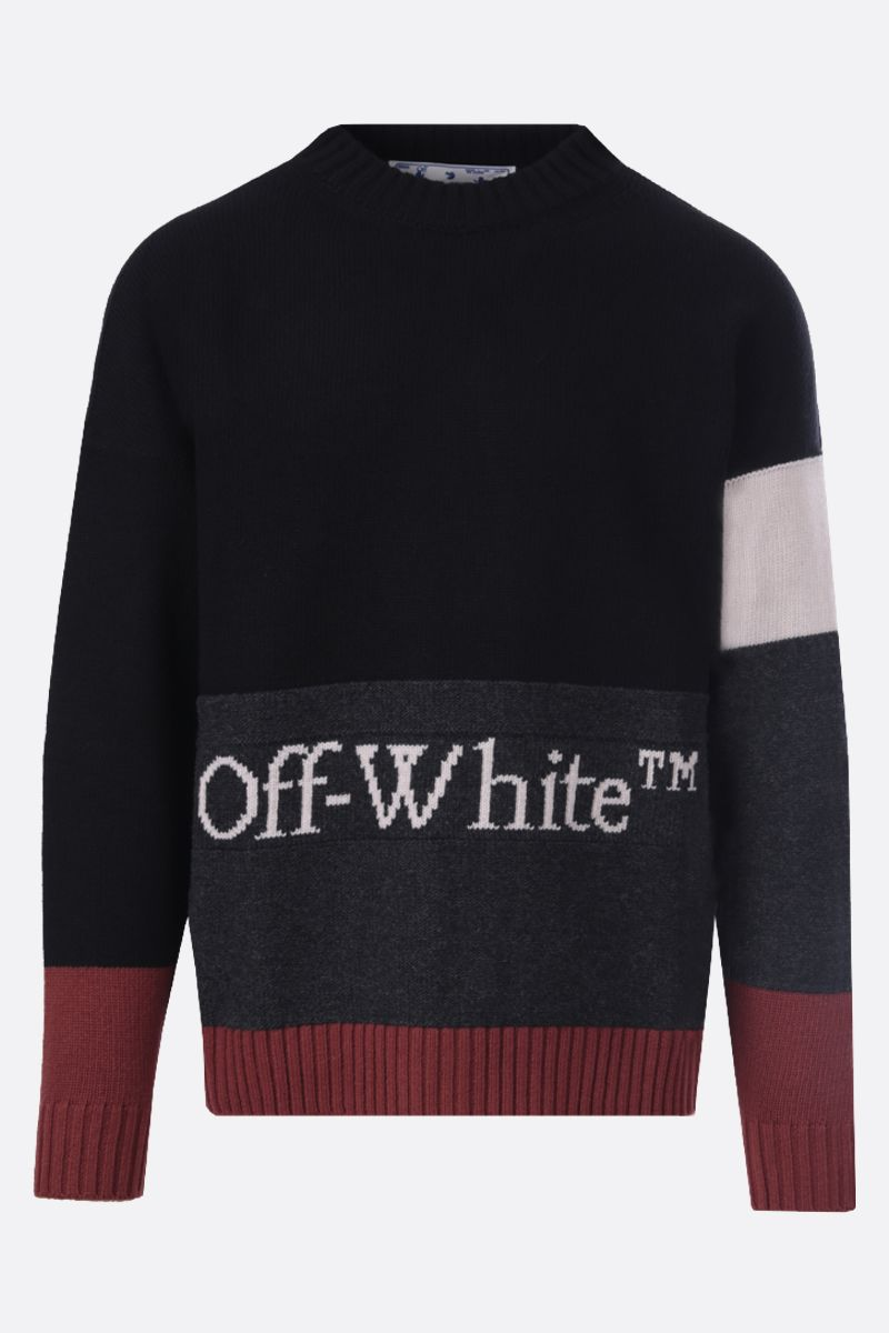 OFF WHITE: Off-White™ intarsia colour-block wool pullover Color Black_1