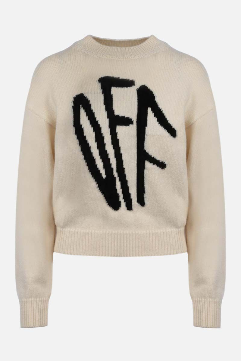 OFF WHITE: pullover Graffiti in misto lana Colore Neutro_1