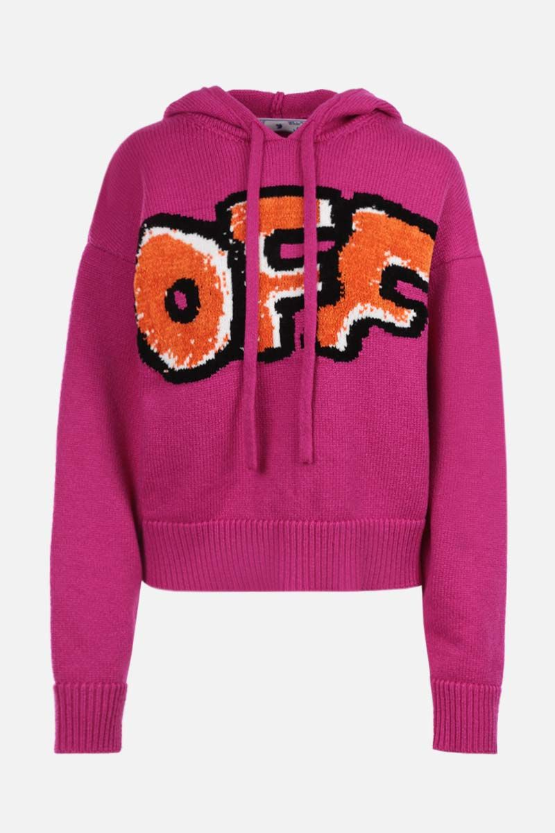 OFF WHITE: Graffiti wool blend hooded pullover Color Purple_1