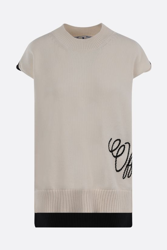 OFF WHITE: cotton blend sleeveless pullover Color Neutral_1