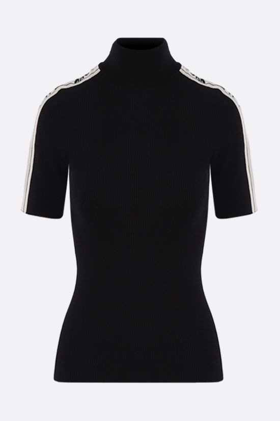 OFF WHITE: short-sleeved rib knit pullover Color Black_1
