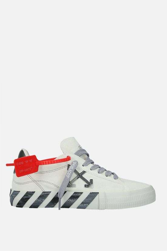 OFF WHITE: Low Vulcanized suede sneakers Color White_1
