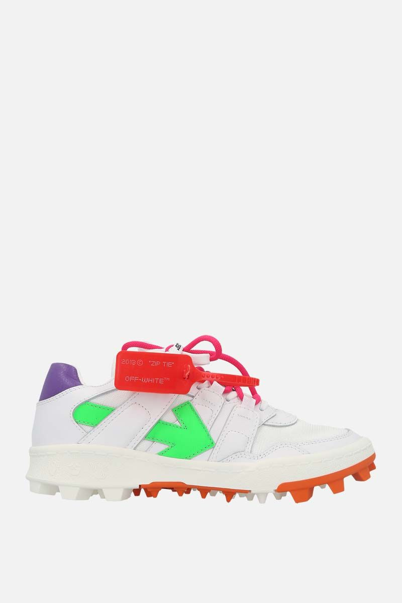 OFF WHITE: Mountain Cleats smooth leather and mesh sneakers Color Multicolor_1