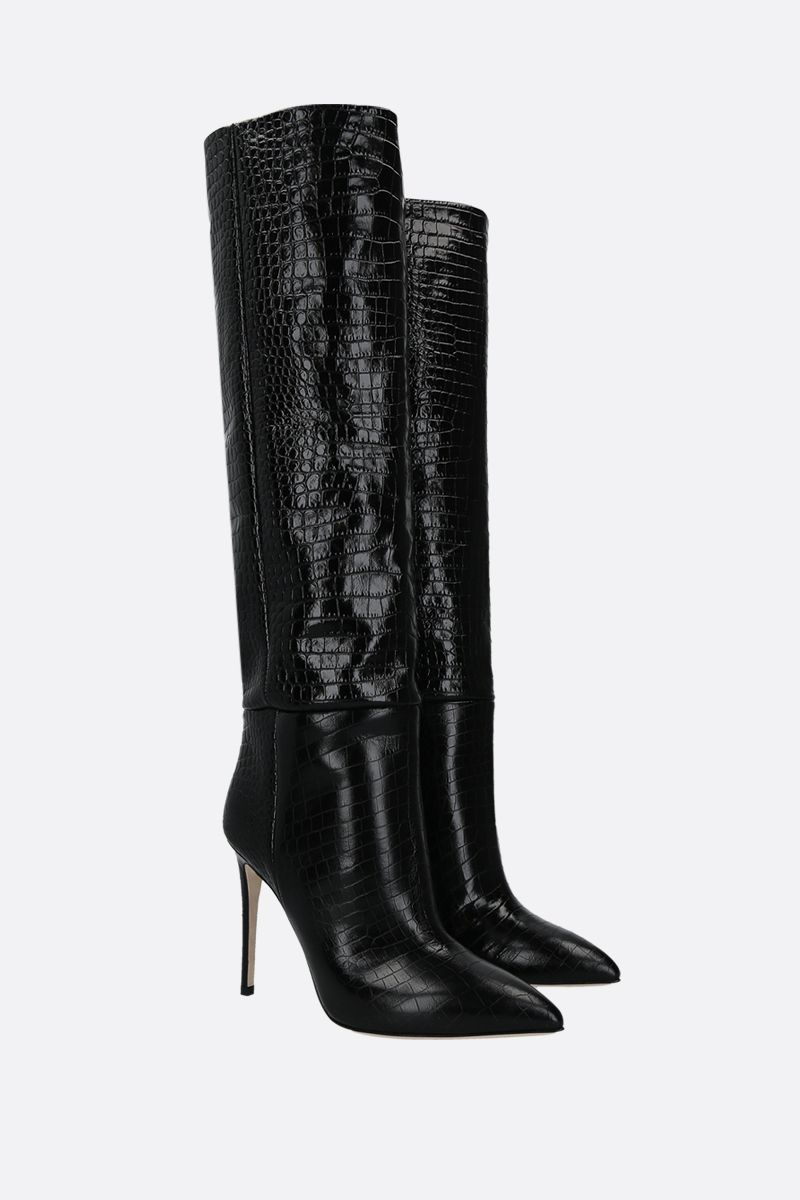 PARIS TEXAS: crocodile embossed leather boots Color Black_2