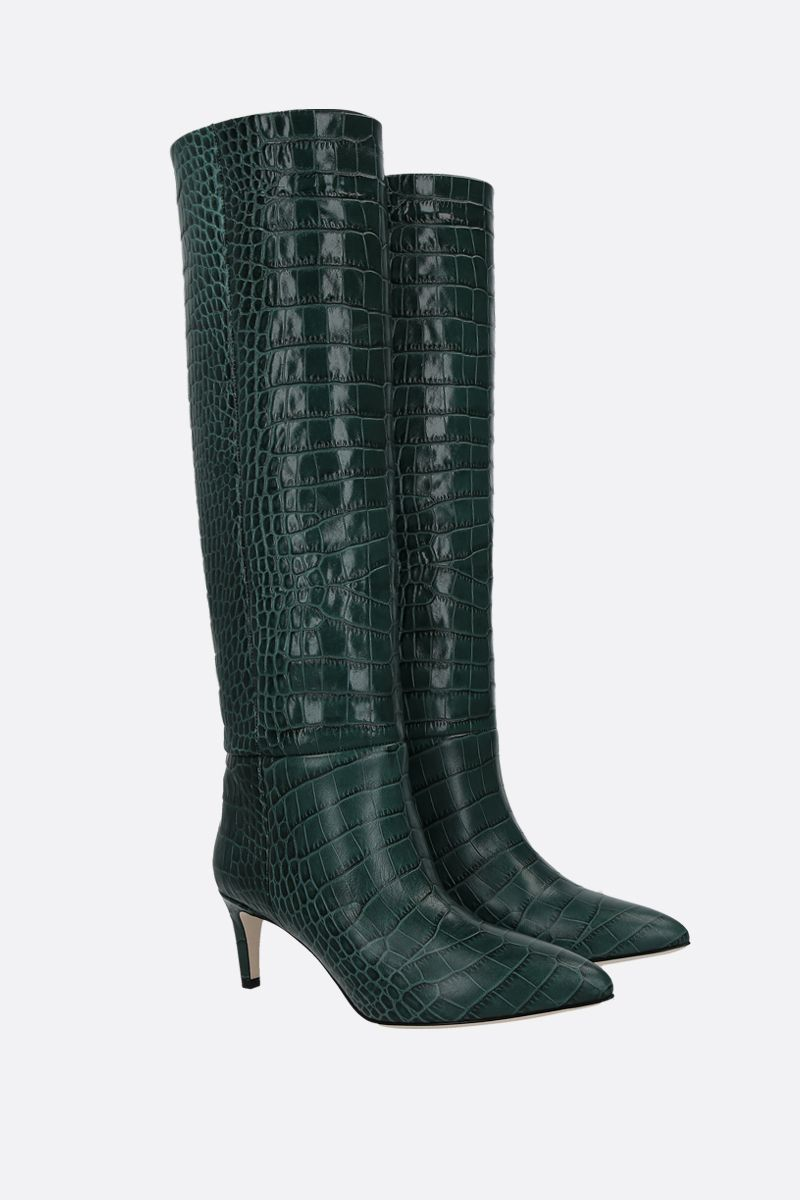 PARIS TEXAS: crocodile embossed leather boots Color Green_2