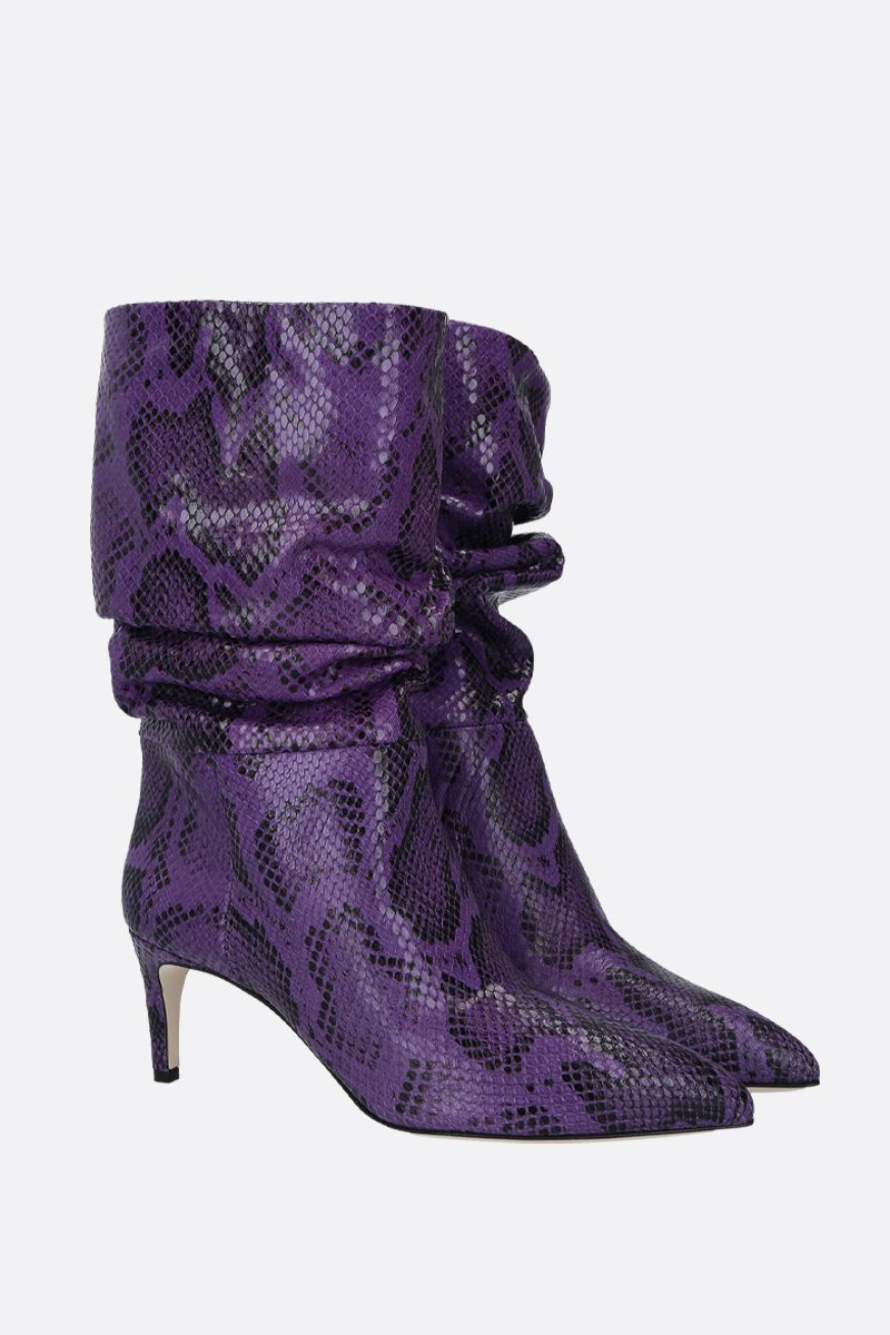 PARIS TEXAS: python-embossed leather boots Color Purple_2