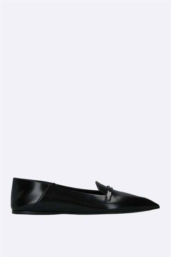 PRADA: logo-detailed brushed leather slippers Color Black_1
