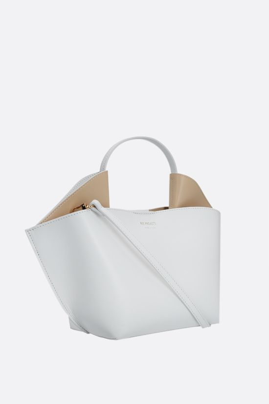 REE PROJECTS: Ann mini smooth leather tote bag Color White_2