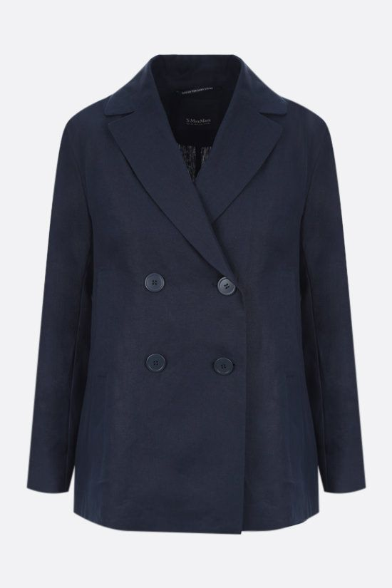 'S MAX MARA: Pianosa double-breasted linen jacket Color Blue_1