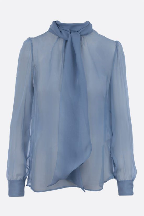 SAINT LAURENT: lavallière-detailed silk chiffon blouse Color Blue_1