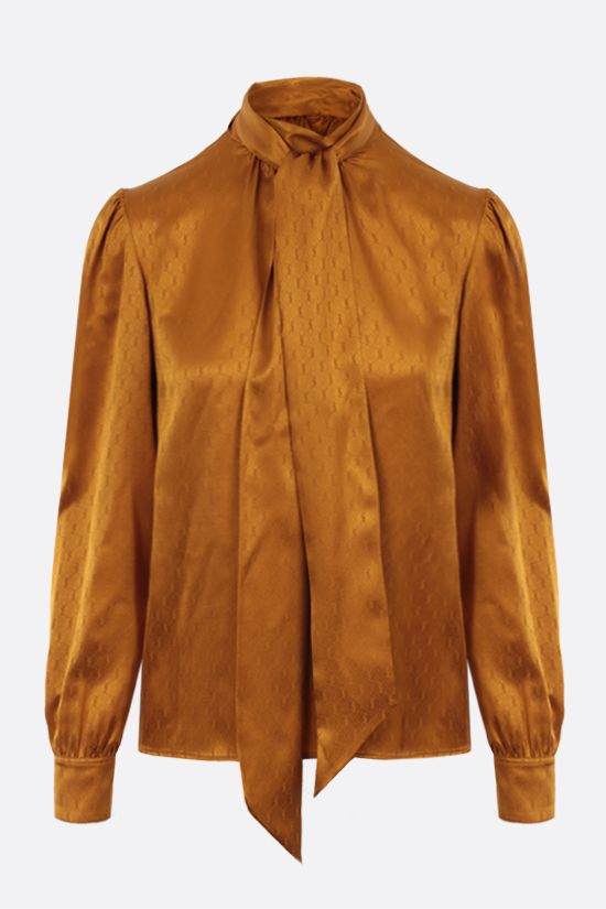 SAINT LAURENT: blusa in jacquard di seta Monogram Colore Giallo_1