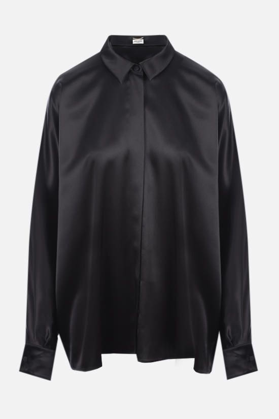 SAINT LAURENT: oversize satin shirt Color Black_1
