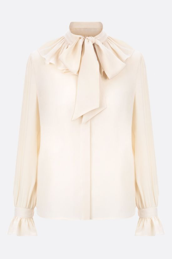 SAINT LAURENT: frilled crepe de chine shirt Color Neutral_1