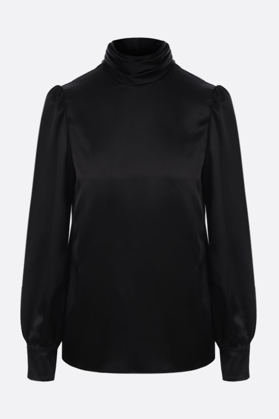 SAINT LAURENT: silk satin blouse Color Black_1