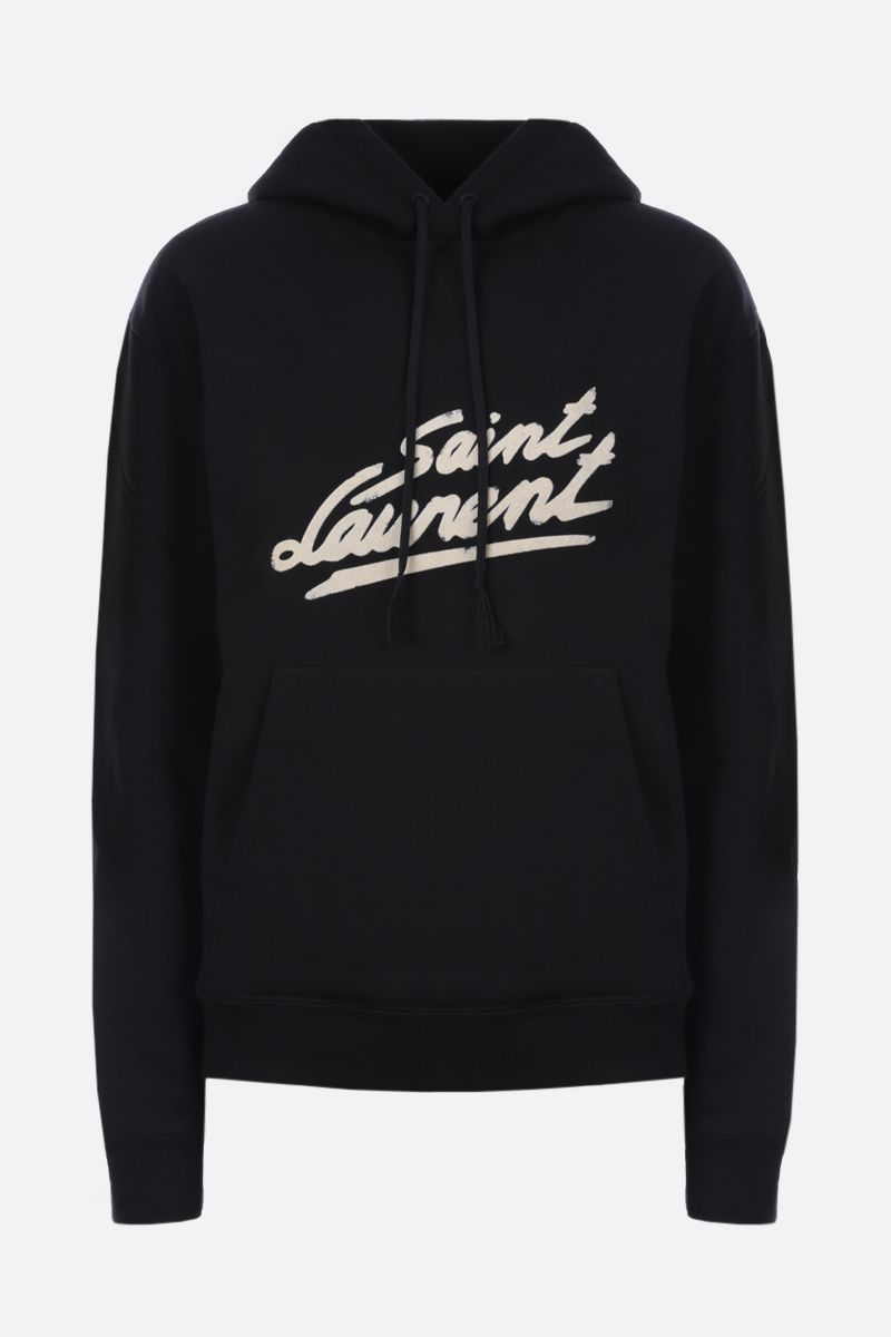 SAINT LAURENT: Saint Laurent print cotton hoodie Color Black_1