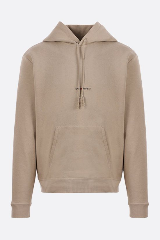 SAINT LAURENT: logo print cotton hoodie Color Neutral_1