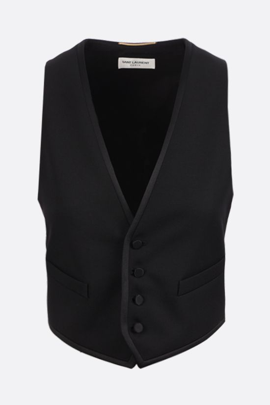 SAINT LAURENT: cropped tuxedo vest in wool and silk Color Black_1