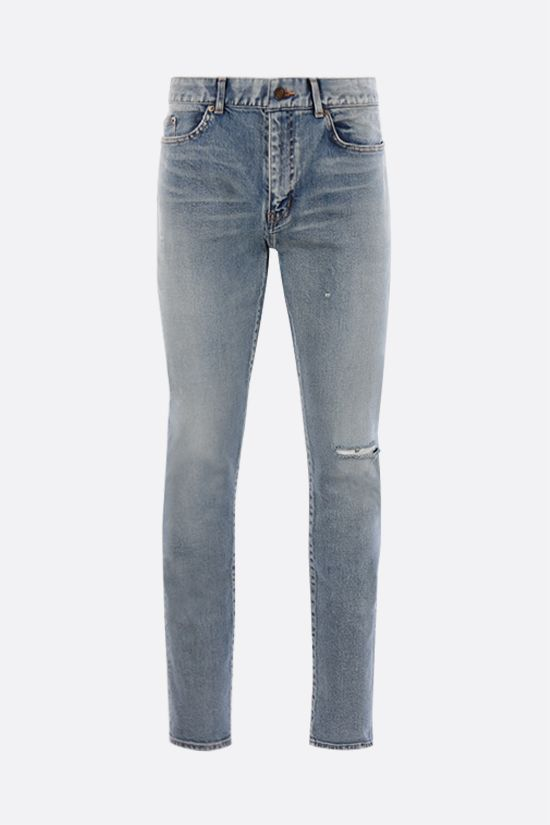 SAINT LAURENT: distressed-effect skinny-fit jeans Color Blue_1