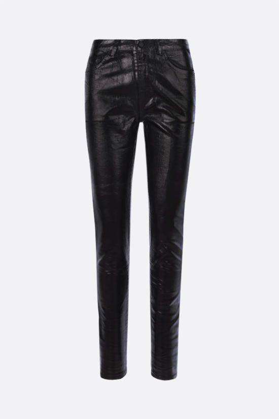 SAINT LAURENT: coated cotton skinny jeans Color Black_1