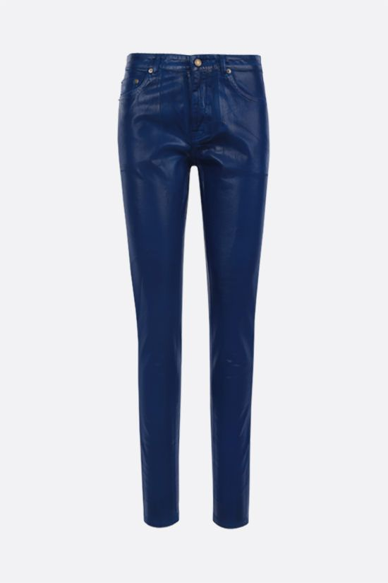 SAINT LAURENT: coated cotton skinny jeans Color Blue_1