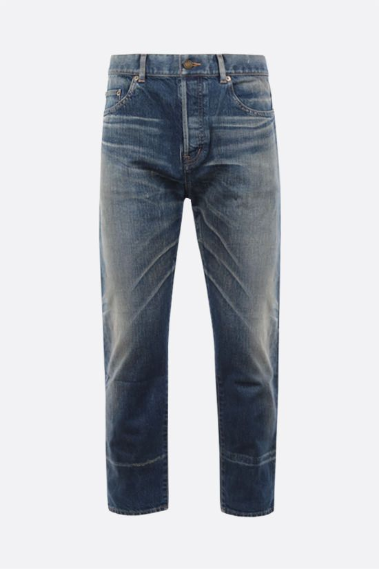 SAINT LAURENT: jeans straight-fit con effetto sdrucito Colore Blu_1