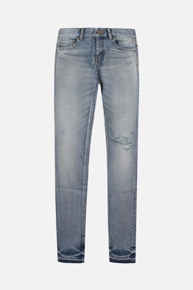 SAINT LAURENT: distressed-effect skinny jeans Color Blue_1