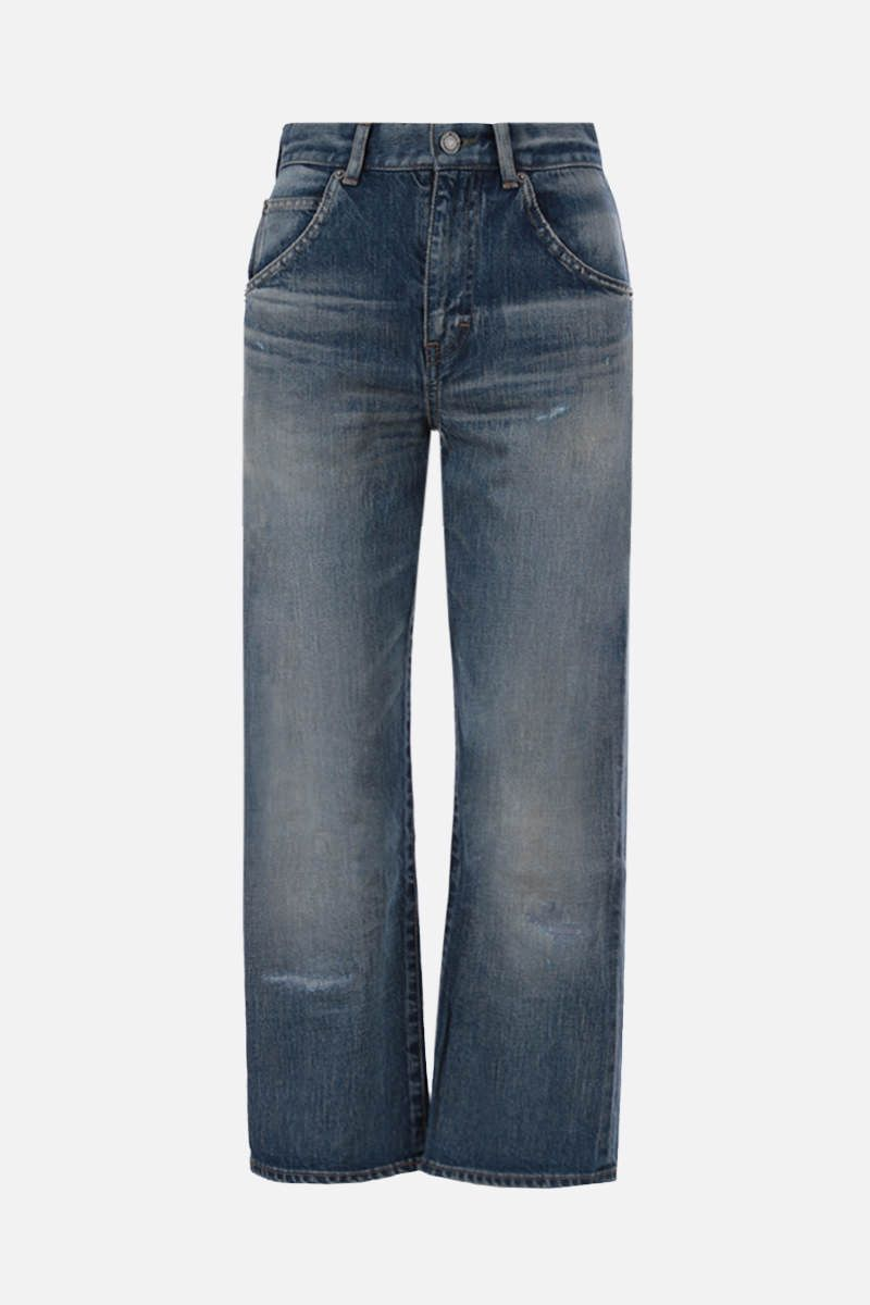 SAINT LAURENT: distressed-effect cropped jeans Color Blue_1
