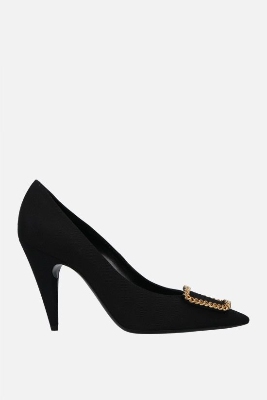 SAINT LAURENT: Sulpice grosgrain canvas pumps Color Black_1