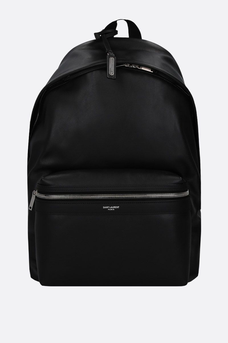 SAINT LAURENT: zaino City in pelle opaca Colore Nero_1