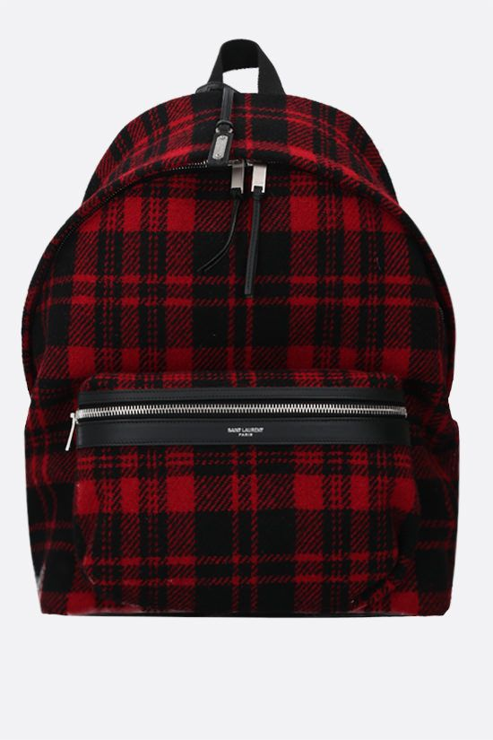 SAINT LAURENT: City check wool backpack Color Red_1