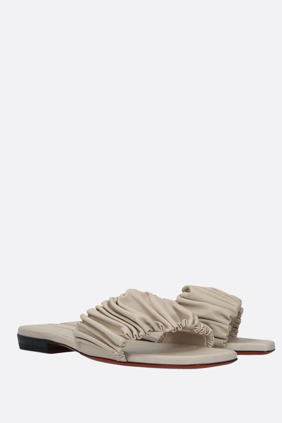 SANTONI: soft nappa slide sandals Color Neutral_2