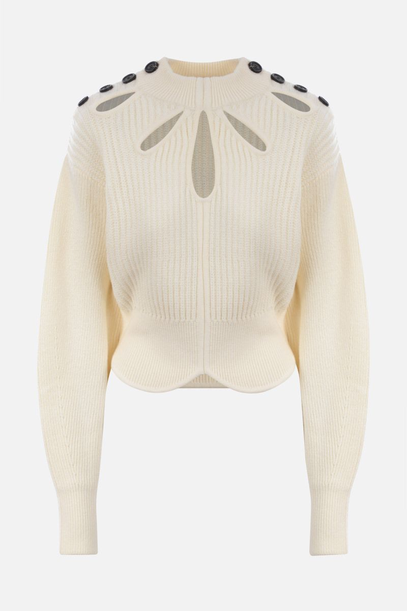 SELF PORTRAIT: cut-out detailed cotton wool blend pullover Color White_1