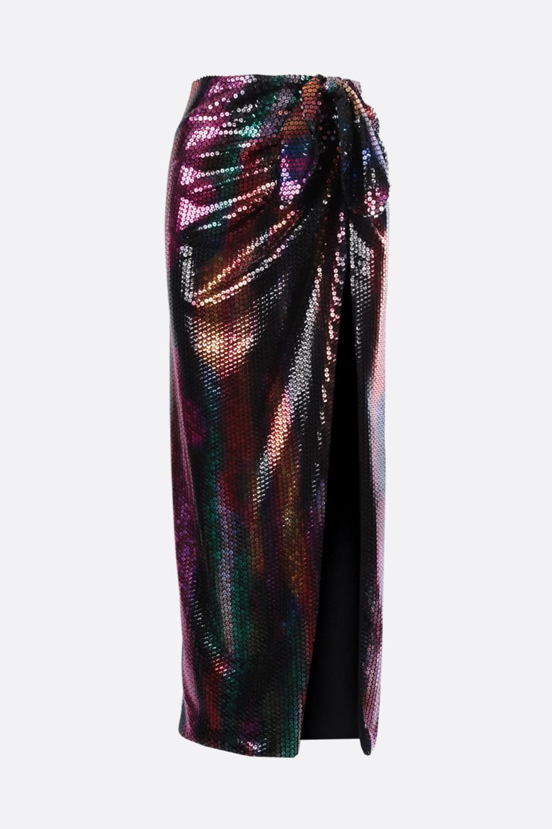THE ATTICO: Joanna sequinned fabric long skirt Color Multicolor_1