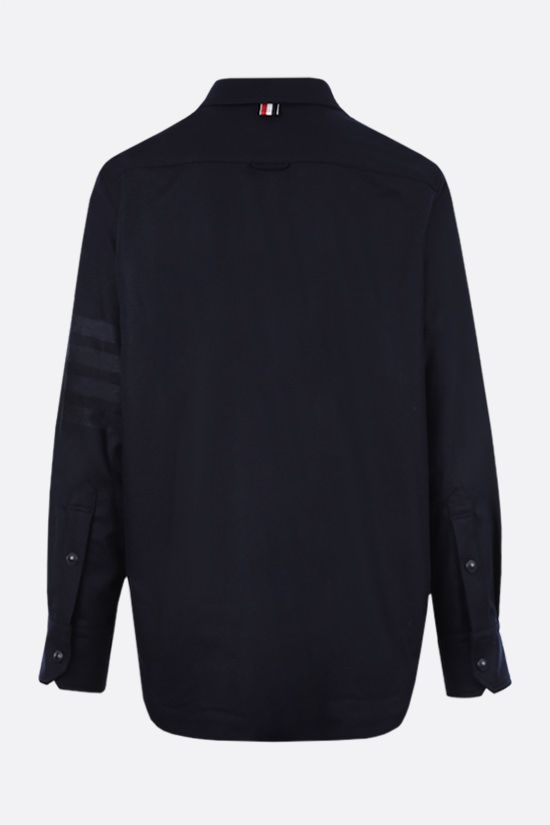 THOM BROWNE: 4-bar-detailed wool cashmere blend overshirt Color Blue_2