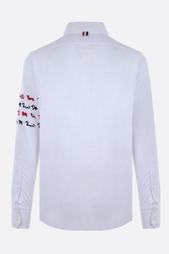 THOM BROWNE: Animals embroidered cotton shirt Color White_2