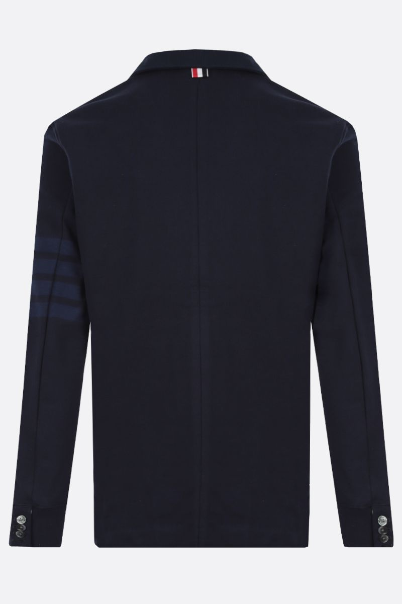 THOM BROWNE: 4-bar-detailed jersey single-breasted jacket Color Blue_2