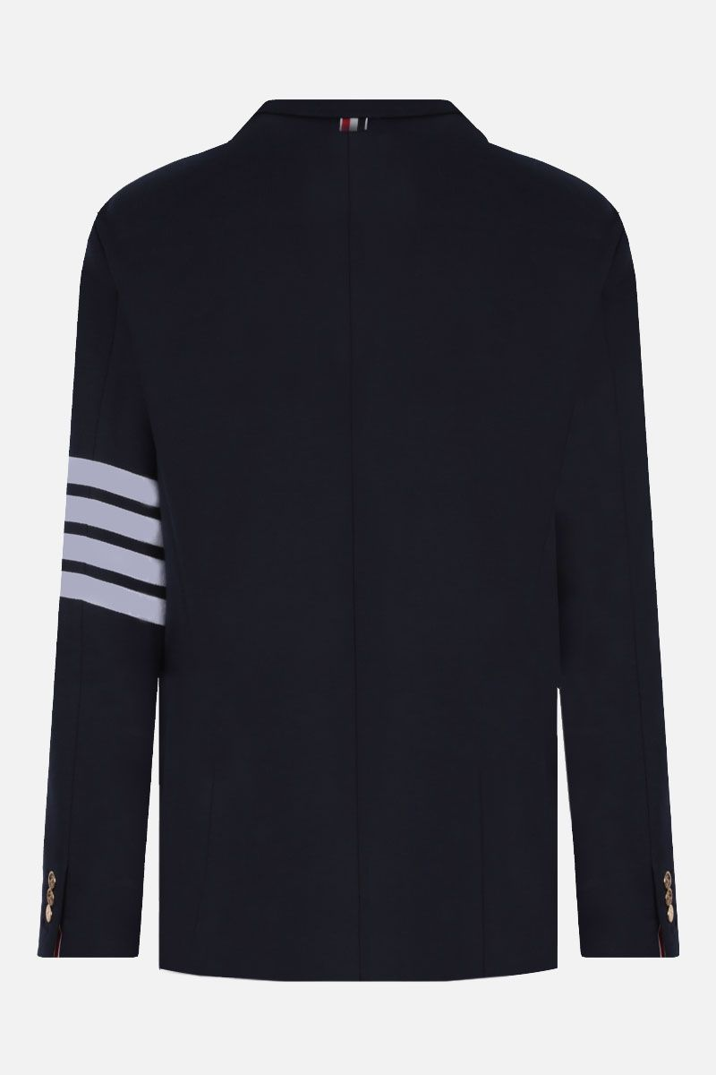 THOM BROWNE: 4-bar detailed jersey single-breasted jacket Color Blue_2