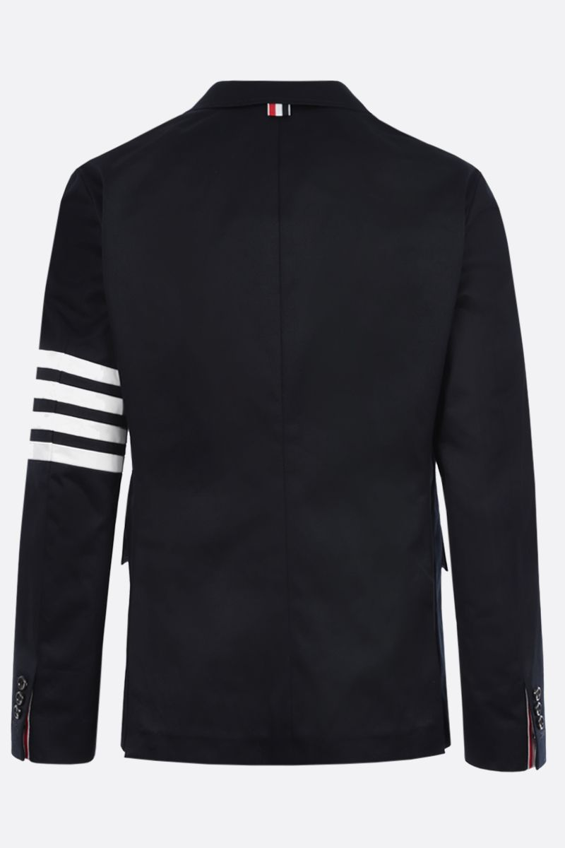 THOM BROWNE: 4-bar detailed cotton single-breasted jacket Color Blue_2