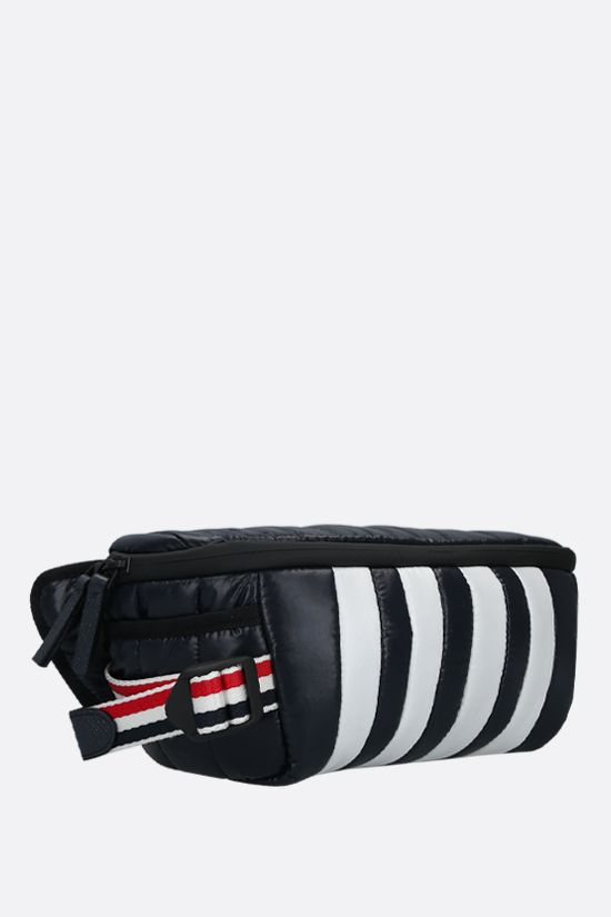 THOM BROWNE: 4-bar detailed nylon belt bag Color Blue_2